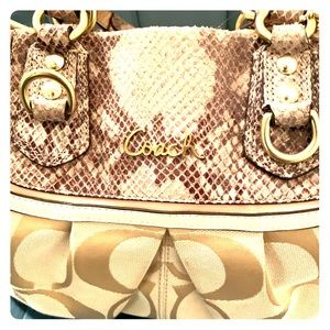 Large Coach Snakeskin style bag (tan)